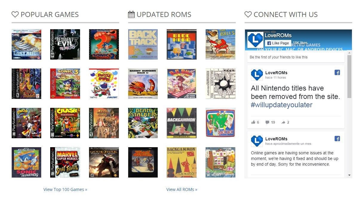 LoveROMS, una de las principales páginas con emuladores online