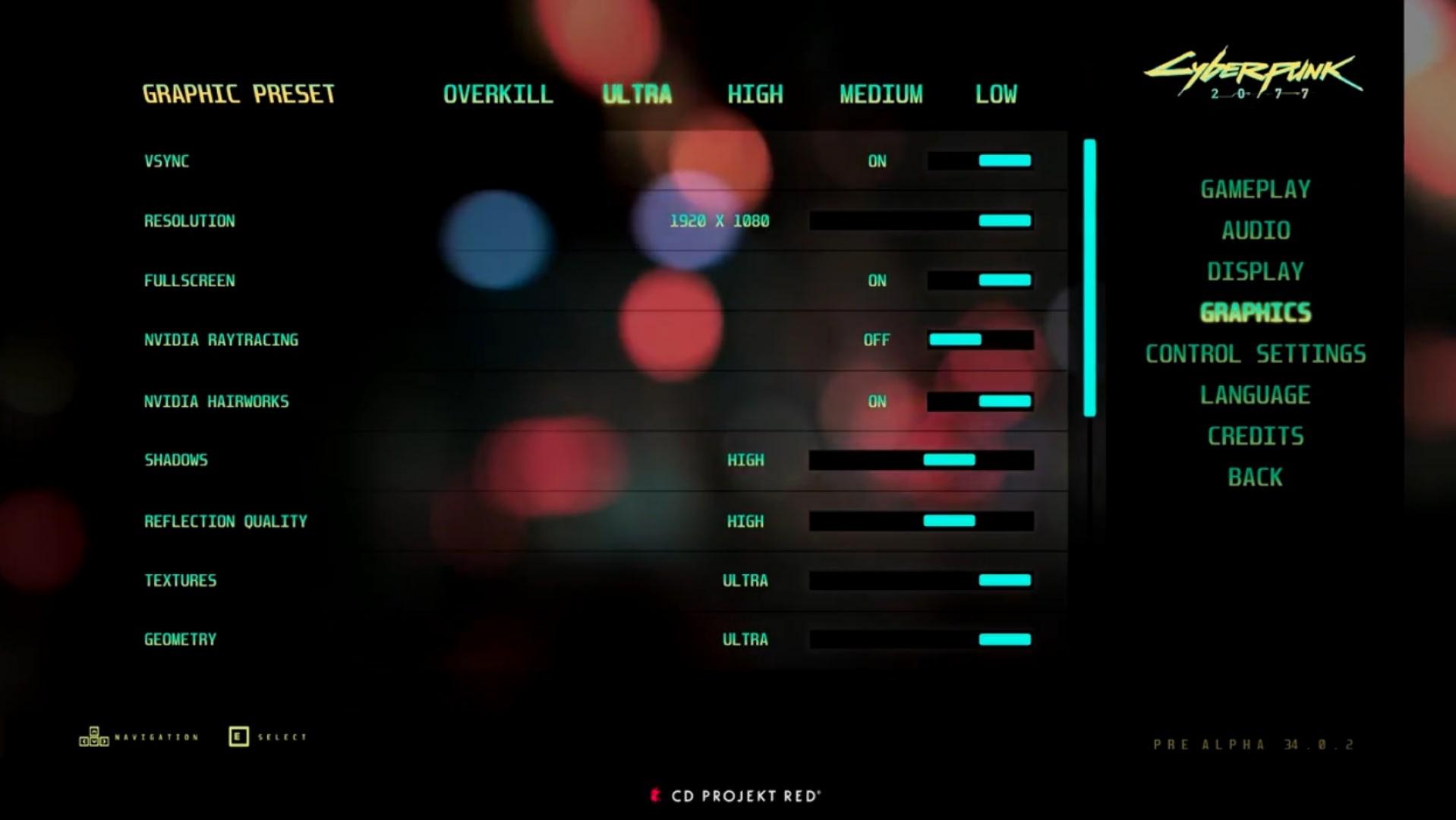 Cyberpunk 2077: el menú gráfico