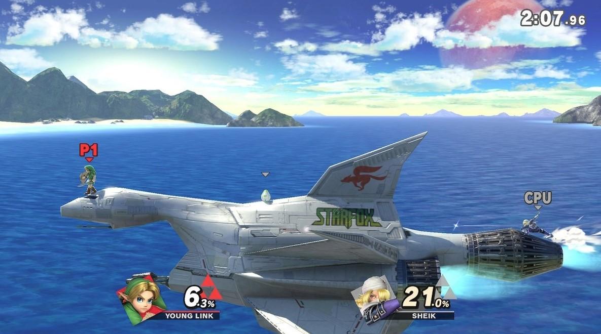 Corneria y la nave maestra de Star Fox, uno de los tantos escenarios. (Nintendo)