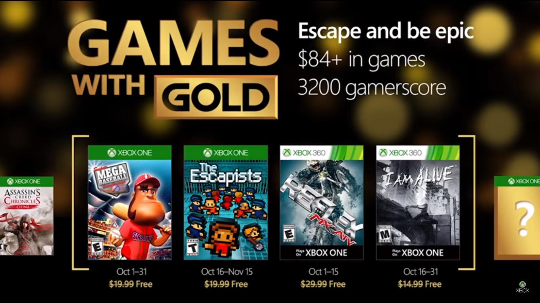 Microsoft anunció los Games With Gold para Octubre