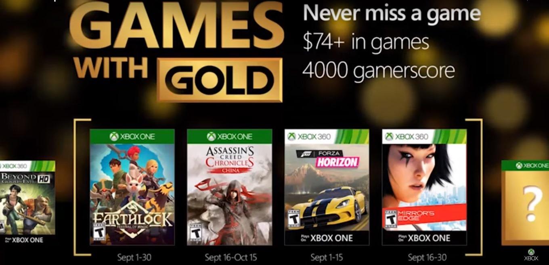 Microsoft confirmó los Games With Gold para Septiembre