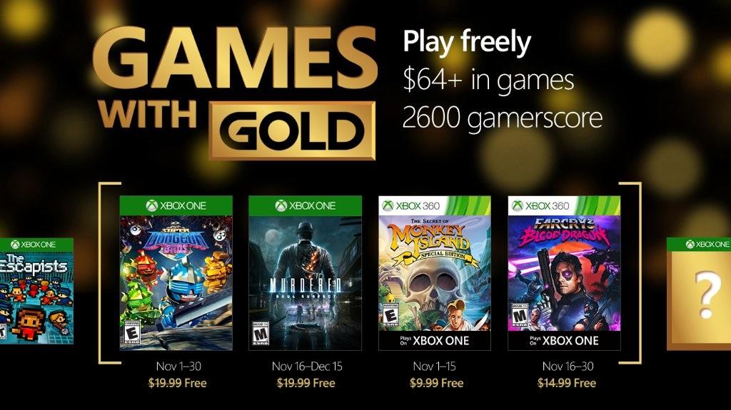 Xbox anunció los Games with Gold para noviembre