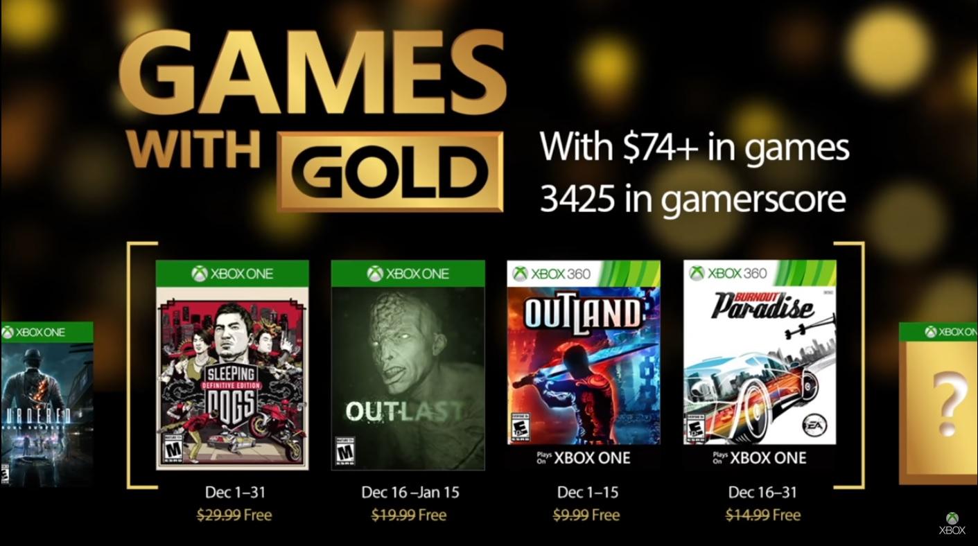 Xbox anunció los Games With Gold para Diciembre