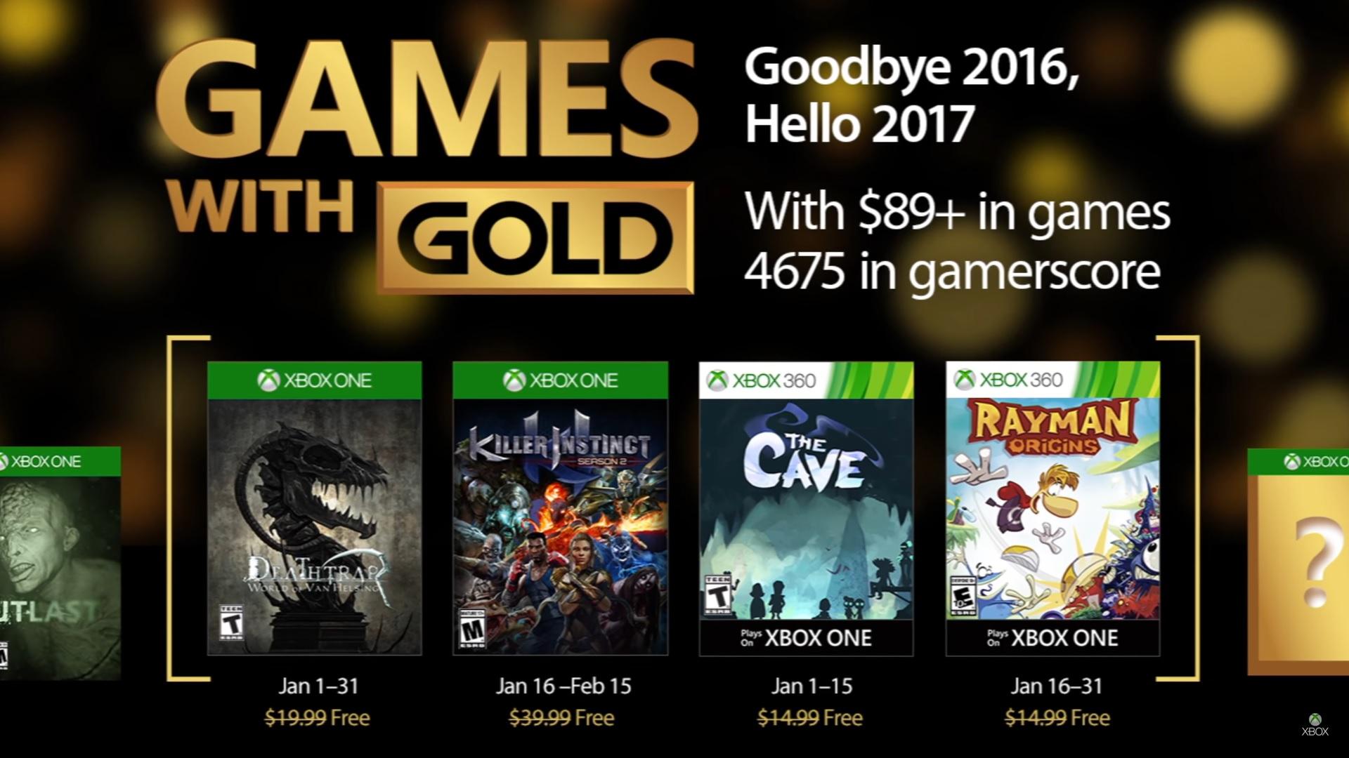 Xbox anunció los Games With Gold de Enero!