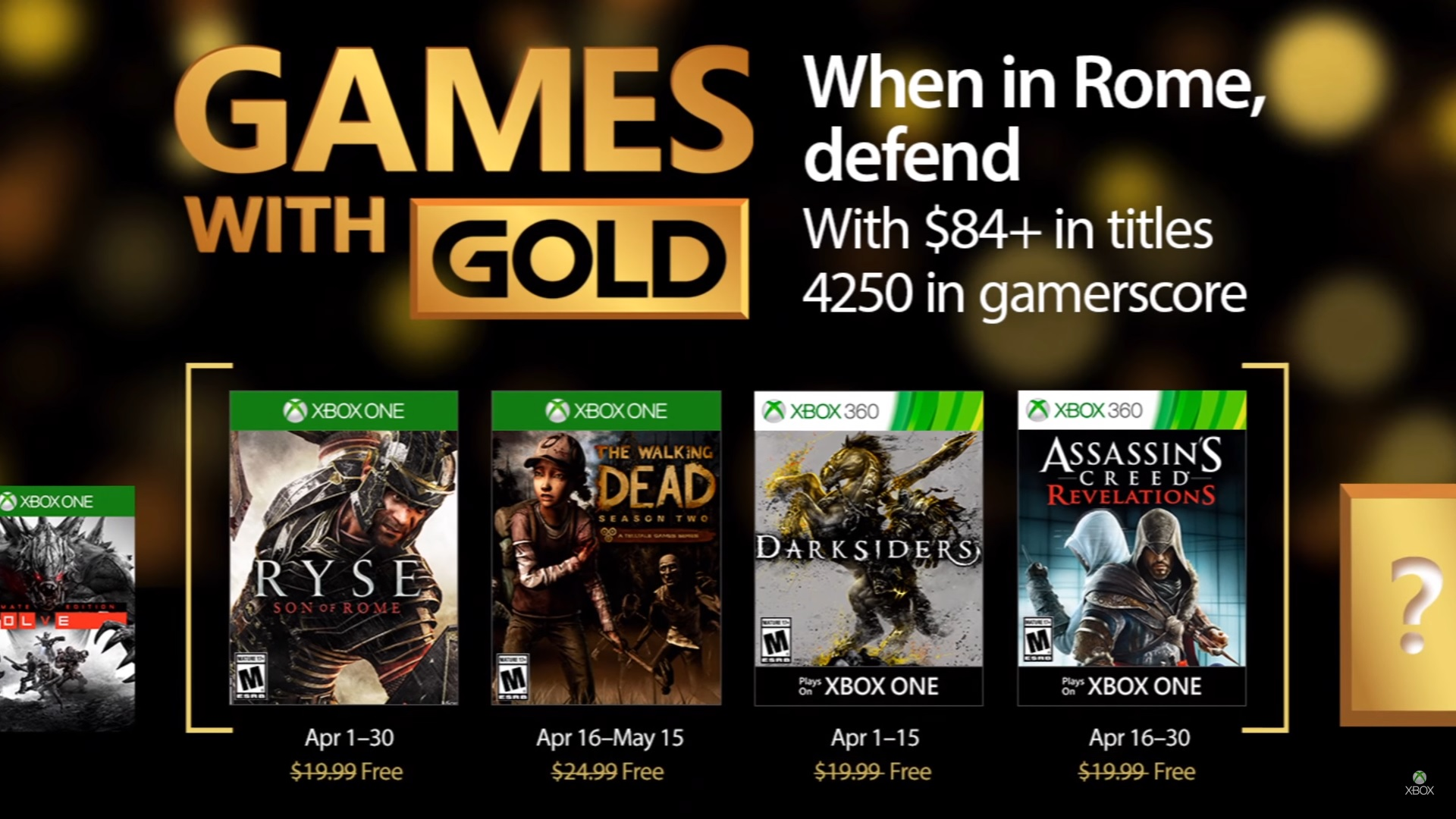 Estos son los Games With Gold de Xbox para abril