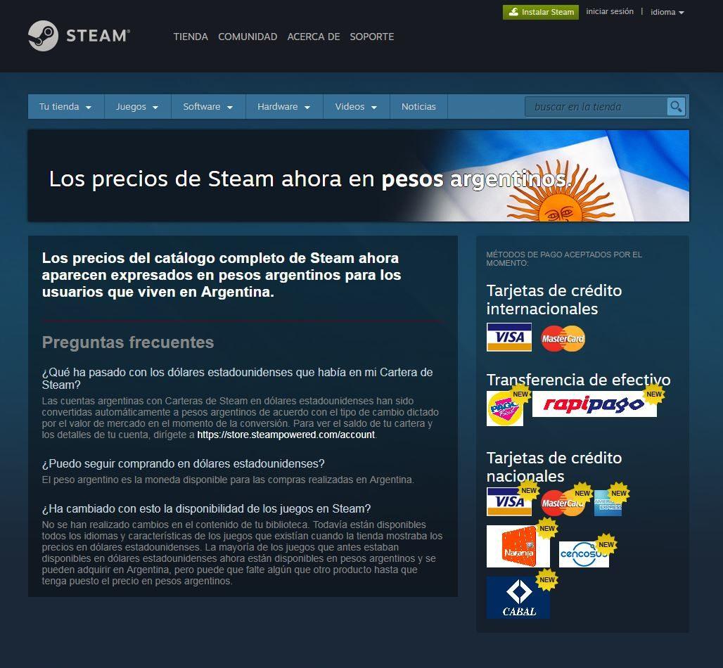 """Steam """"pesificó"""" su plataforma para Argentina y en moneda local para otros países de Latinoamérica"""
