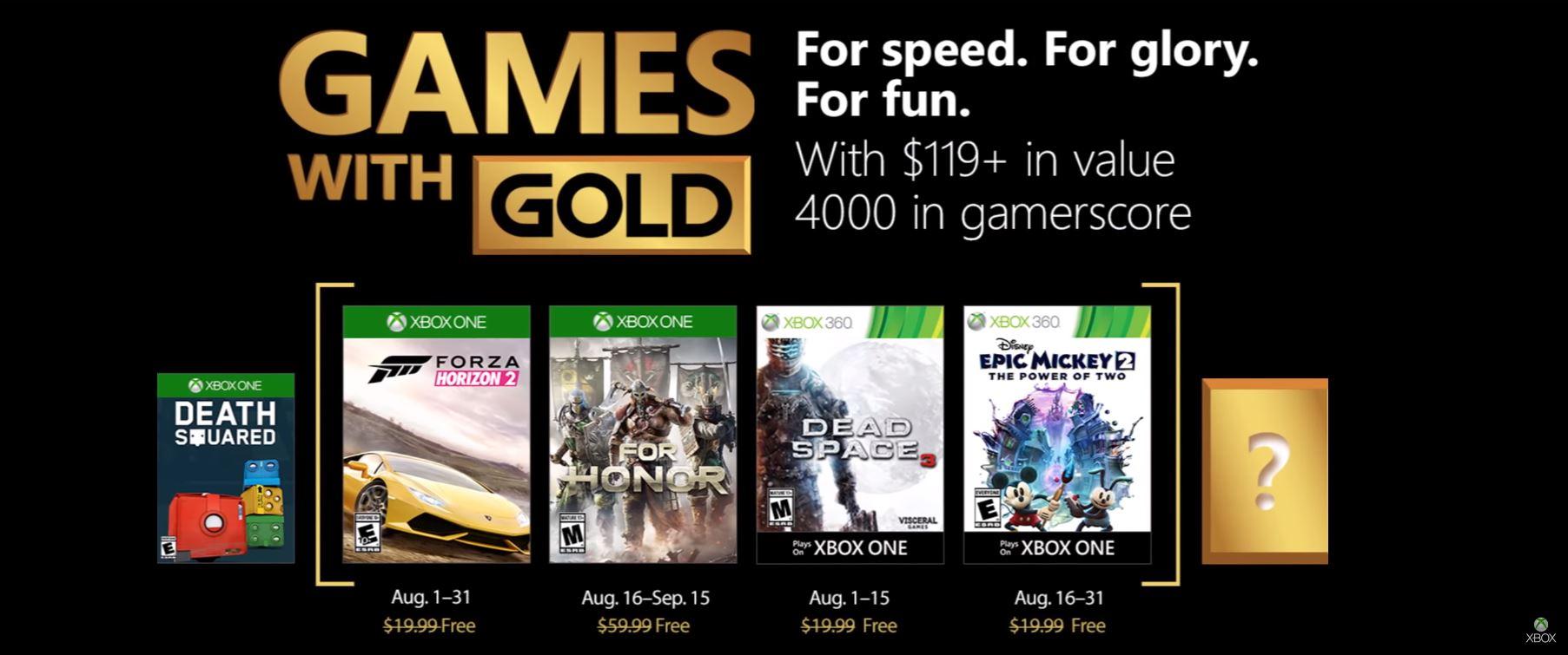 Microsoft anunció los Xbox Live Games with Gold para Agosto