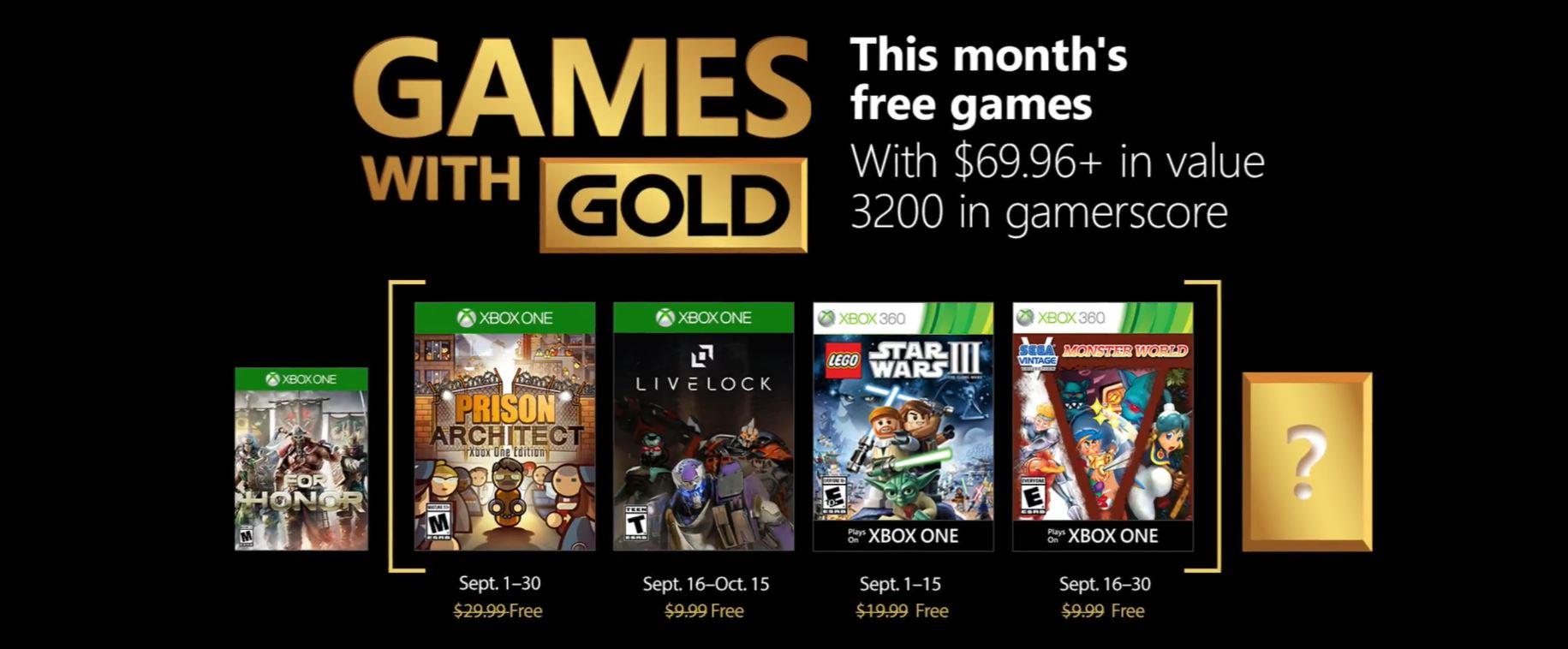 Microsoft anunció los juegos gratis de Xbox Live Games with Gold para Septiembre