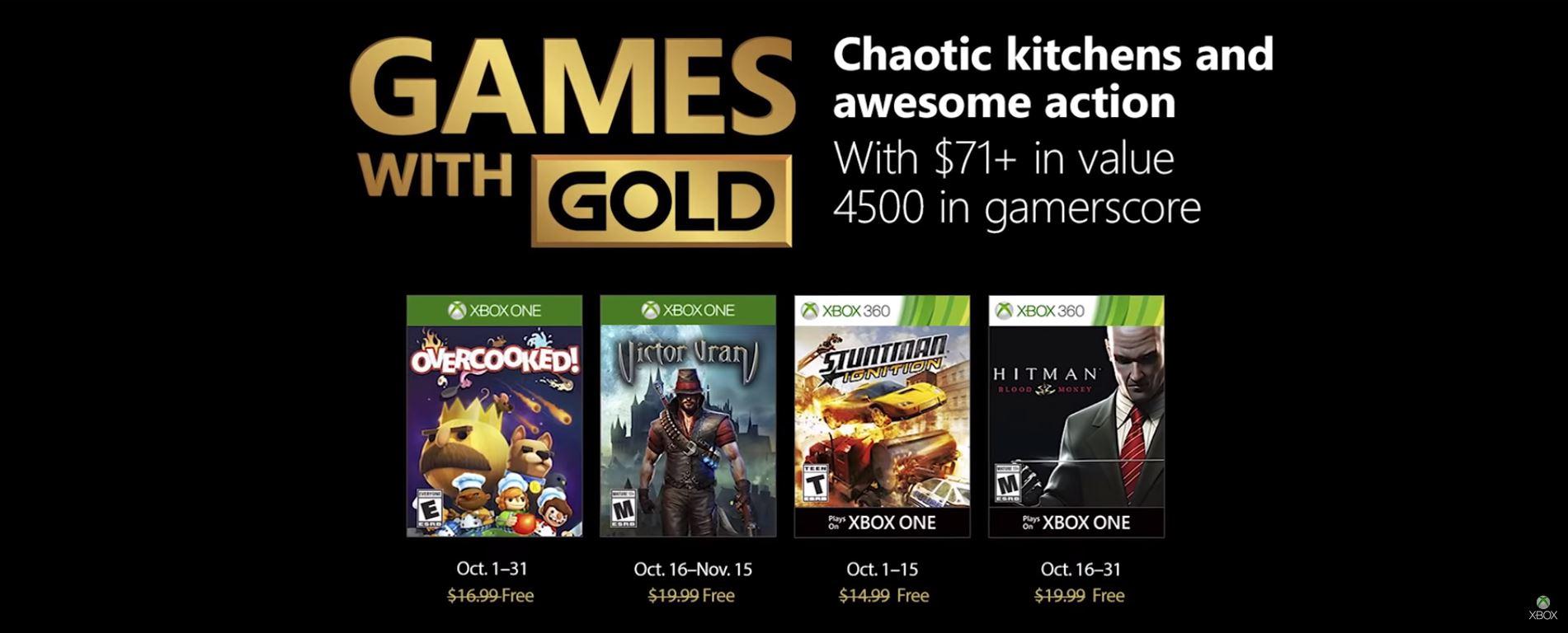 Microsoft anunció los juegos gratis de Xbox Live Games with Gold para Octubre