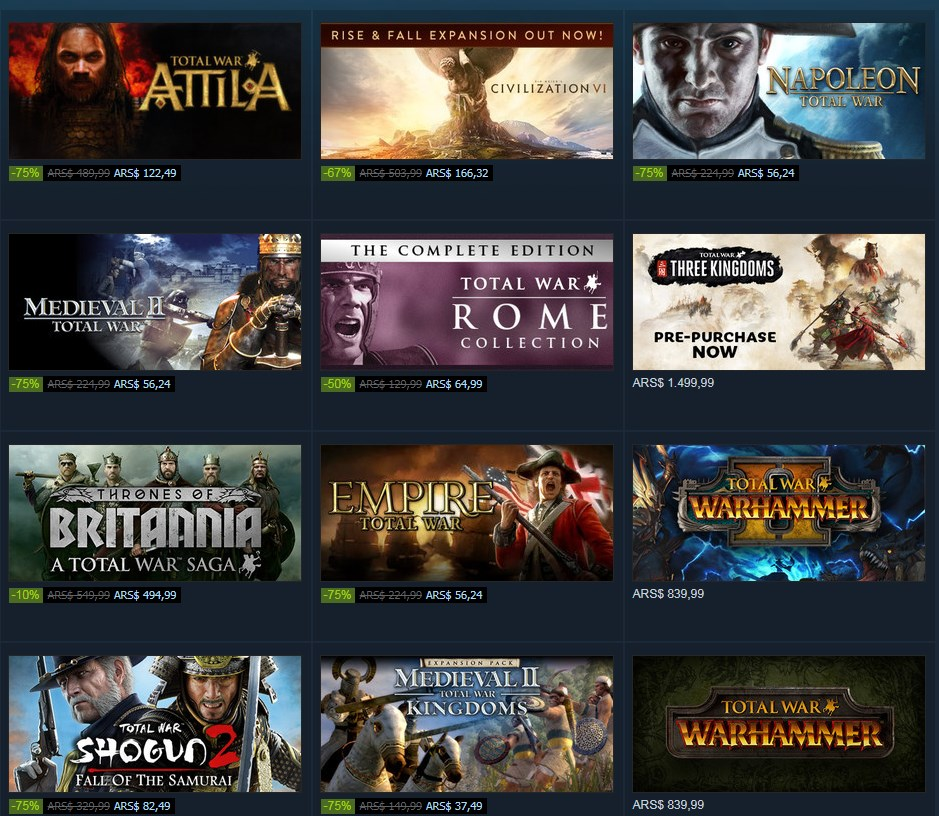 Total War: grandes descuentos