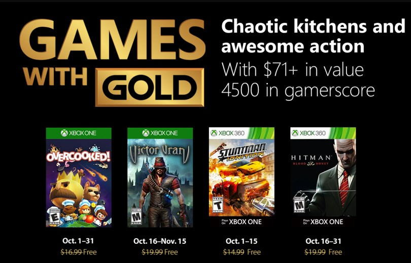 Games with Gold: octubre trae DLCs de Fallout, Victor Vran, Hitman: Blood Money y más
