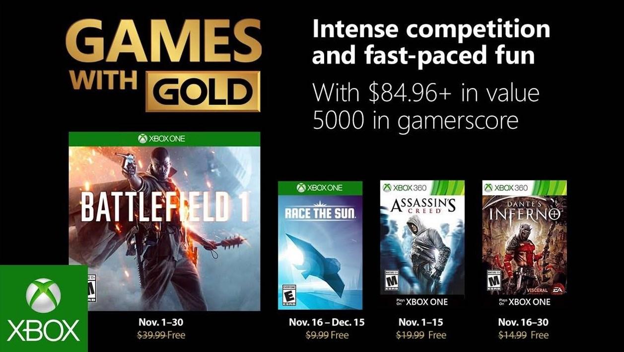 Xbox: con Battlefield 1 a la cabeza, estos son los juegos de Games With Gold de Noviembre