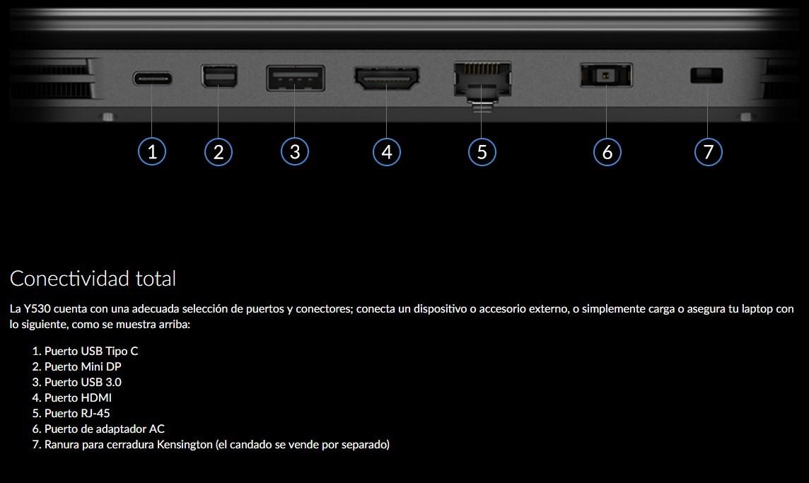 Lenovo LEgion Y530: conectividad