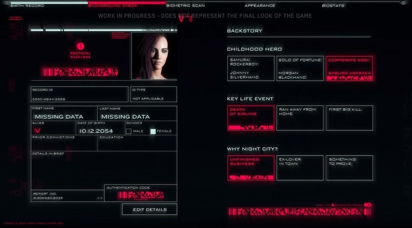 Cyberpunk 2077: el selector de personajes