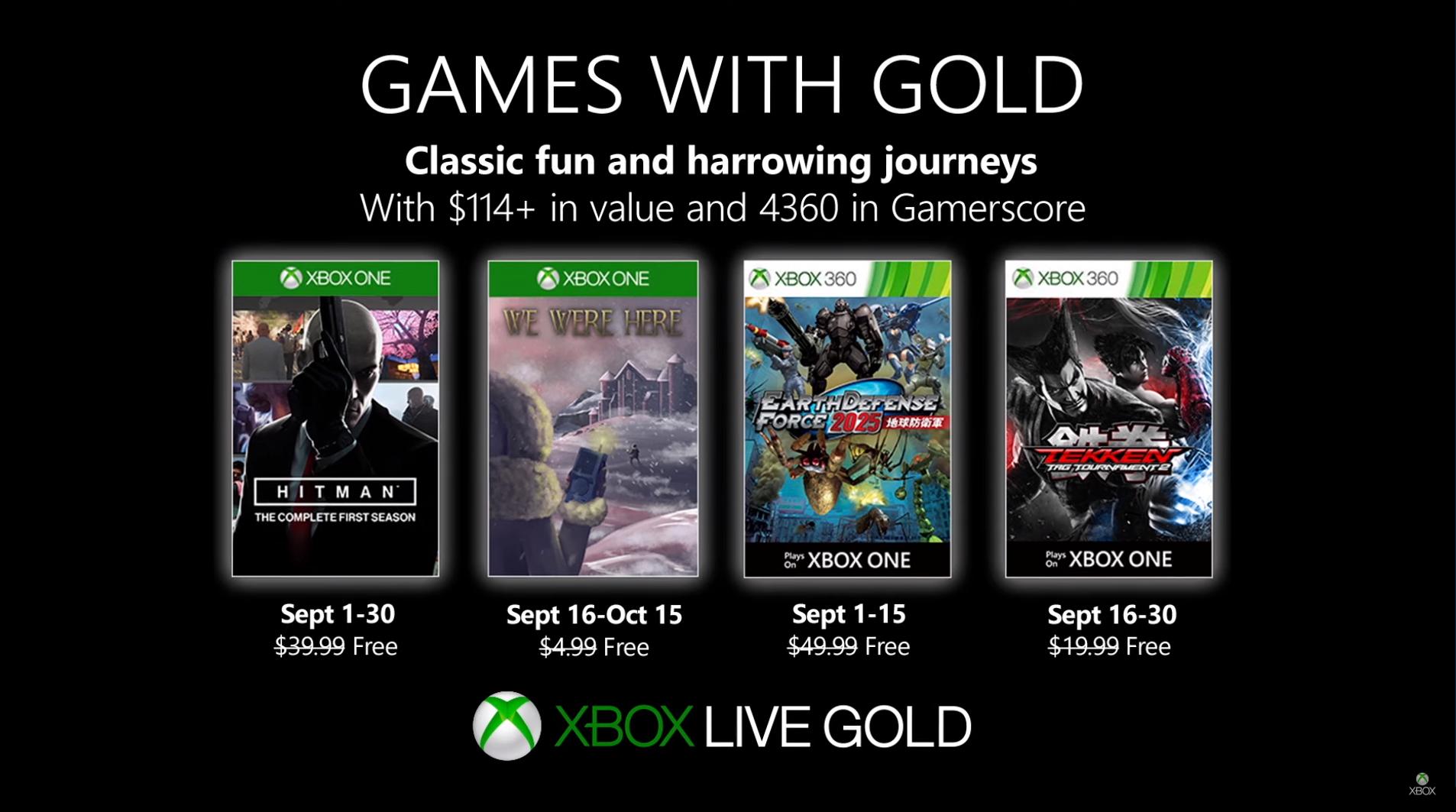 Games With Gold de Semptiembre: Hitman y Tekken llegan gratis para Xbox este mes