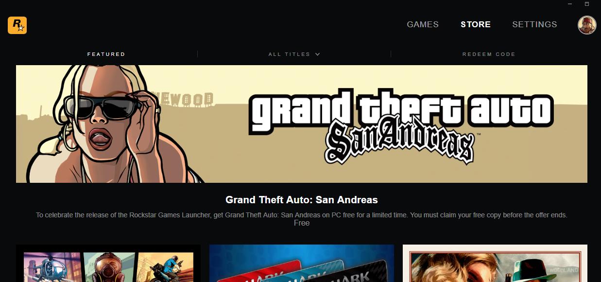 Rockstar presentó su plataforma de juegos para PC y regala el GTA San Andreas