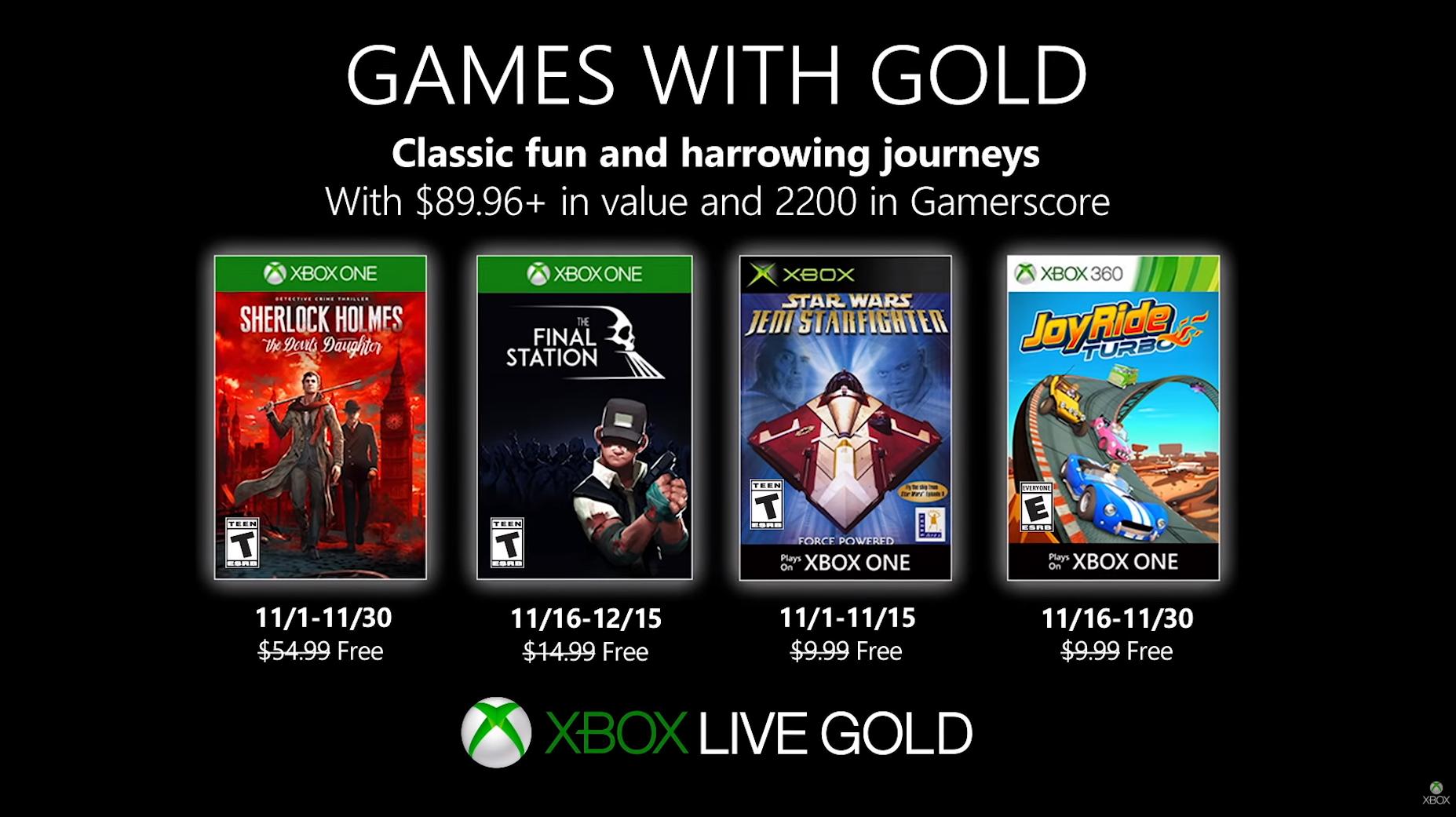 Microsoft anunció los juegos gratuitos de Noviembre para usuarios de Games With Gold