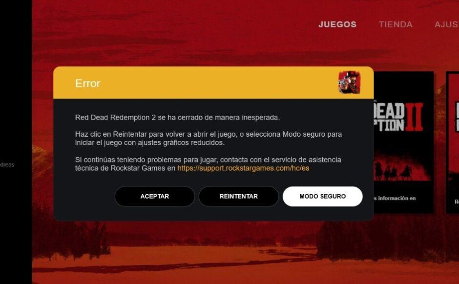 """Red Dead Redemption 2 en PC tira un """"error inesperado"""": cómo resolverlo"""