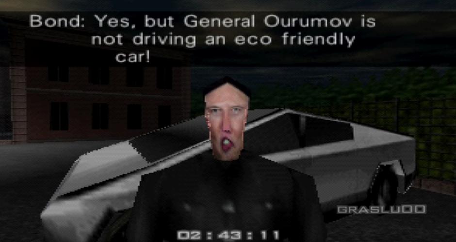 Alguien introdujo a Elon Musk y el Tesla Cybertruck en Golden Eye para N64 y quedó espectacular