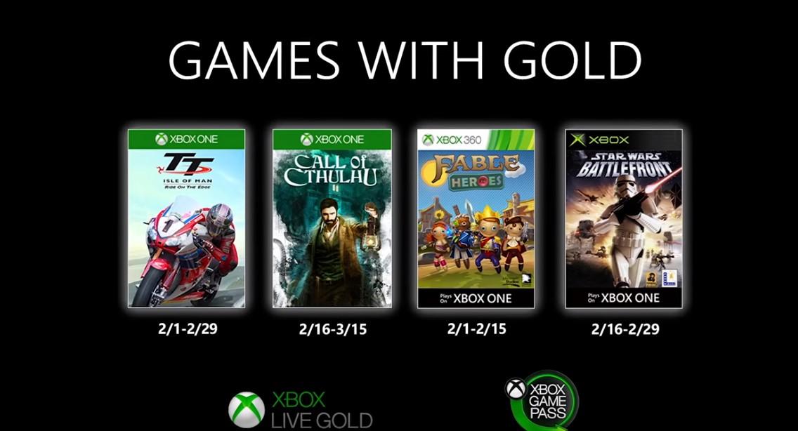Microsoft reveló los Games with Gold de febrero