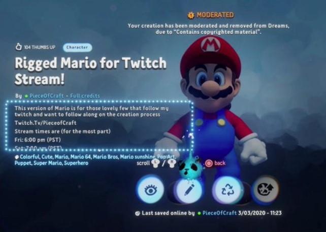 Nintendo denunció una creación de Super Mario de Dreams de PS4 y pidió que la den de baja