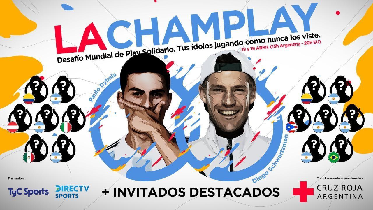 """Así será """"La Champlay"""", el torneo que organiza Diego Schwartzman y Paulo Dybala para recaudar fondos en contra del coronavirus"""