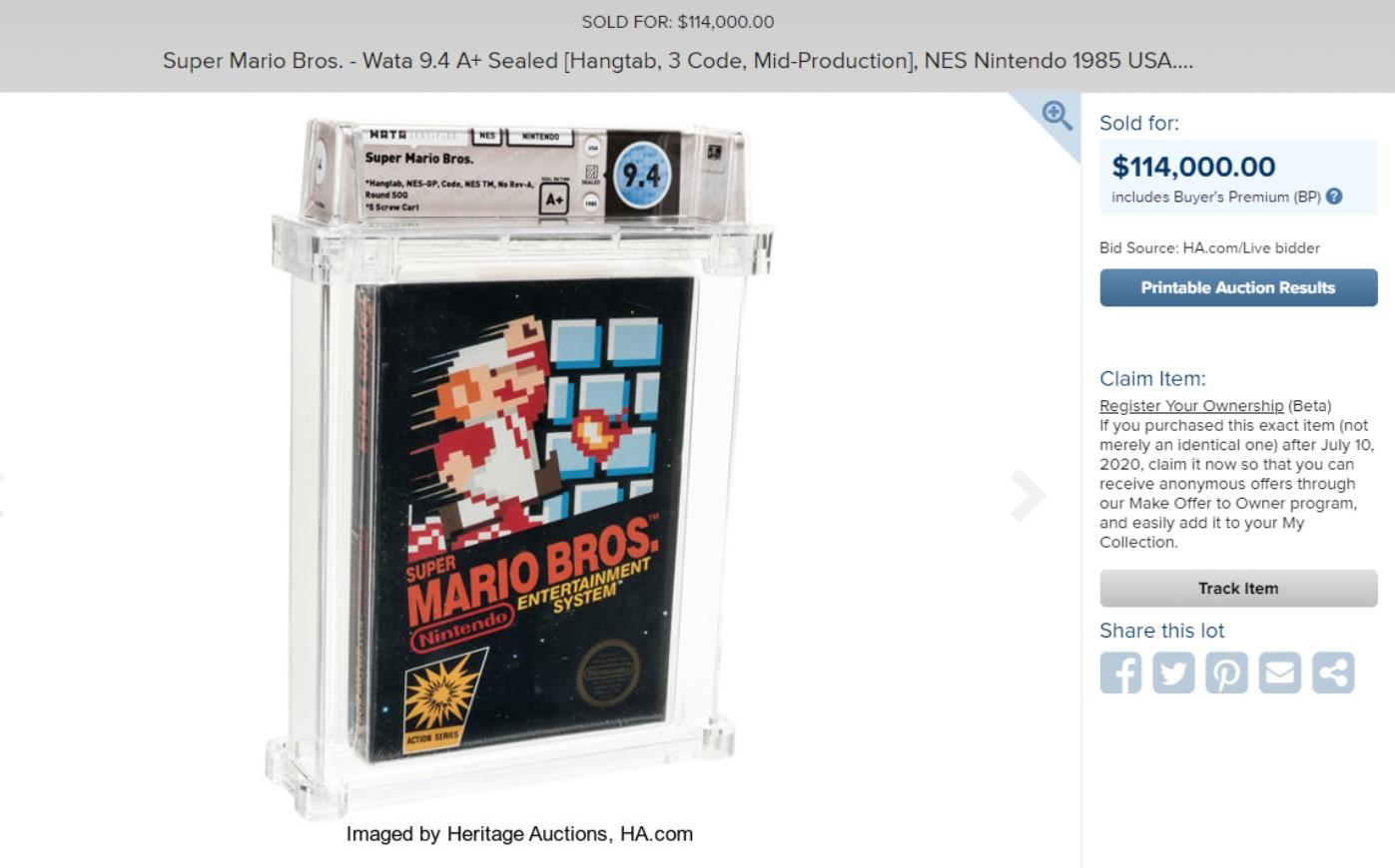Una copia sellada de Mario Bros. de 1985 se vendió como el juego más caro del mundo