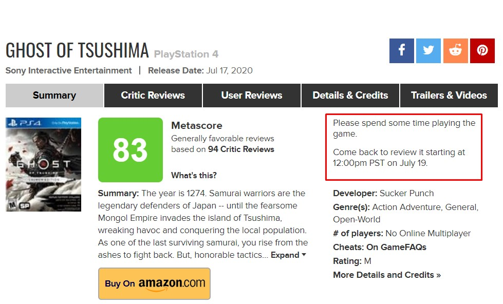 """Ghost of Tsushima no se puede reseñar aún por usuarios en metacritic: intentan evitar el """"review bombing"""""""