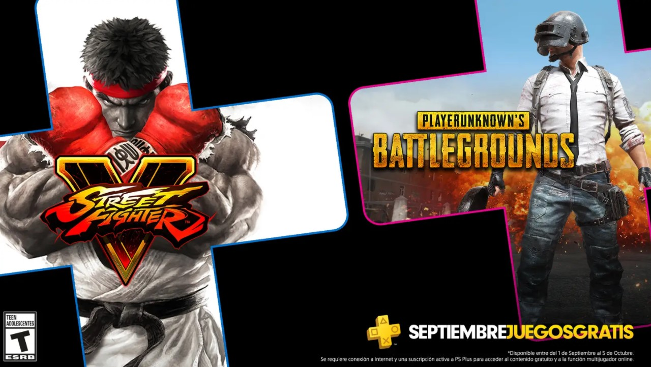 PS Plus presentó los juegos de septiembre: PUBG y Street Fighter V