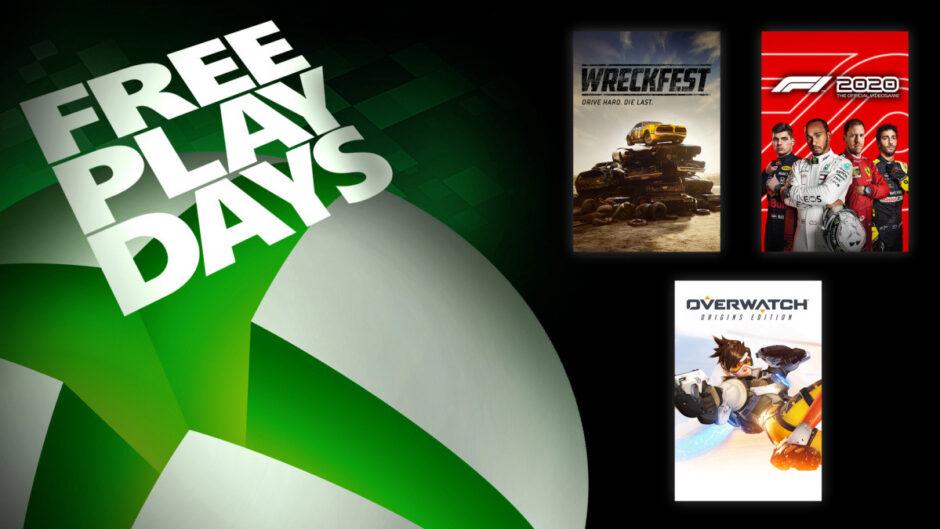 Xbox Free Play Days: Overwatch, F1 2020 y Wreckfest gratis por el fin de semana