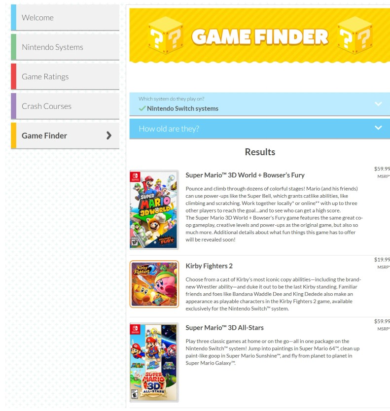 Kirby Fighters 2, listado