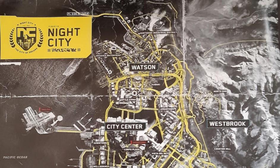 Cyberpunk 2077: se filtró el mapa (en papel) de Night City