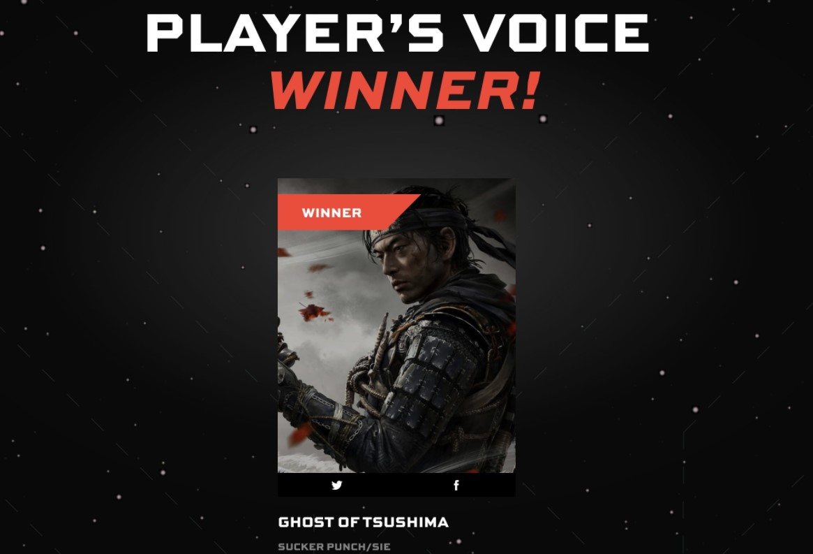 Game Awards 2020: los fans eligieron a Ghost of Tsushima como su GOTY